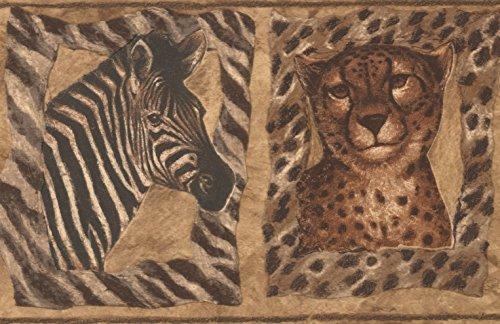Tiger Zebra Giraffe Pictures on the Brown Wall Animal Wallpaper Border Retro Design, Roll 15' x 7''