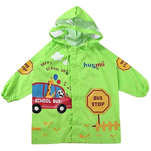 Nette Wasserdichte Regenjacke Unisex Kinder Raincoat Kleinkind, Grün