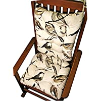 Rocker Cushion Set - Song Bird Black - Extra-Large Size - Seat Cushion and Back Rest - Reversible, Latex Foam Fill - Made in USA