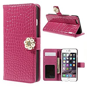 JUJEO for iPhone 6 Plus Glossy Crocodile Wallet Leather Shell with Pearl and Rhinestone, Rose, Carrying Case, Non-Retail Packaging