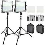 FOSITAN Dimmable Bi-color LED Video Light Kit Studio Light with U Bracket 2pcs Light Stand and Bag for Studio Photography,Video Shooting(3200K-5600K, CRI 96+, 2 Sets, L4500-II)