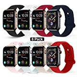 RUOQINI Compatible with Apple Watch Band 42mm 44mm,Sport Silicone Soft Replacement Band Compatible for Apple Watch Series 4/3/2/1 [S/M Size - 8 Pieces Pack]