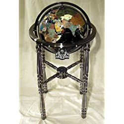 Unique Art 36-Inch by 13-Inch Floor Standing Black Onyx Ocean Gemstone World Globe with Silver 4-Leg Stand