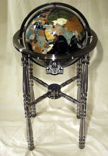 Ocean 13 Inch Gemstone Globe - Unique Art 36-Inch by 13-Inch Floor Standing Black Onyx Ocean Gemstone World Globe with Silver 4-Leg Stand