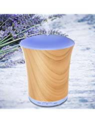 Diffusers for Essential Oils 200ml Aromatherapy Essential Oil Diffuser Neloodony Cool Mist Humidifier With 8 Colors LED Lights, Waterless Auto Shut-off, Adjustable Mist Mode For Bedroom-Wood Grain