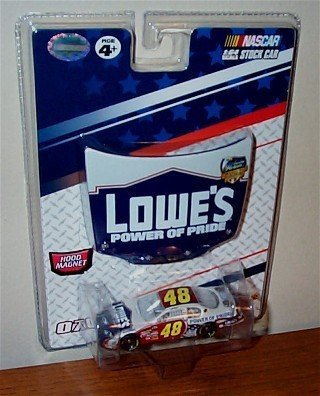 (Jimmie Johnson #48 Lowes Power of Pride American Heroes Memorial Day 2007 Red White Blue Monte Carlo 1/64 Scale Car & Bonus 1/24 Scale Magnet Hood Winners Circle by RaceRock)