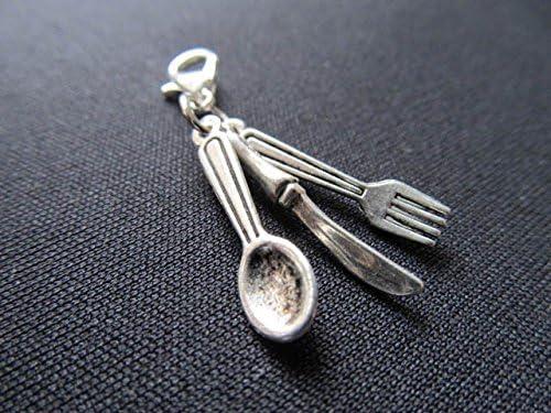 Schlüsselanhänger Besteck Messer Gabel Essen silber Anhänger Keychain