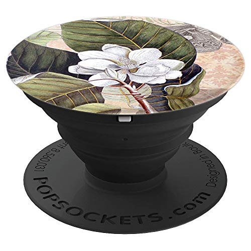 (White Magnolia Antique Botanical - PopSockets Grip and Stand for Phones and Tablets)