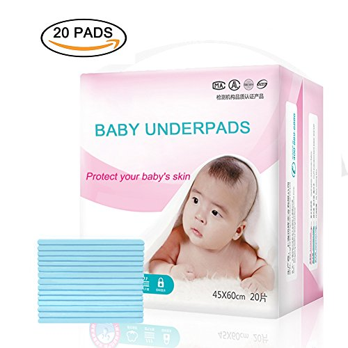 Disposable Underpads, Leak-Proof Breathable Waterproof Underpads Mattress Play Pad Sheet Protector, 20 Pack Disposable Incontinence Bed Pads for Baby Adults, and Pets(18x24IN) ()