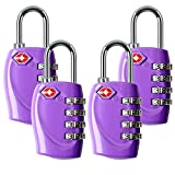 4 Dial Digit TSA Approved Travel Luggage Locks Combination for Suitcases (Purple-4 Pack)