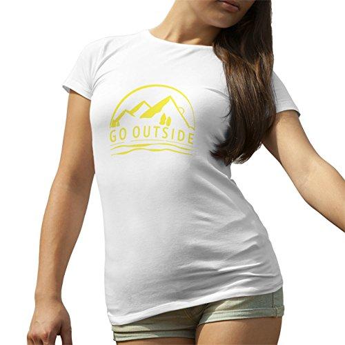 Go Outside Sarcasm Yellow T-Shirt camiseta para la Mujer Blanca