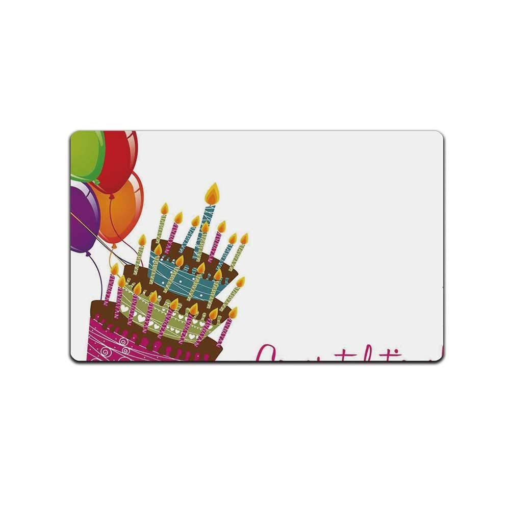 YOLIYANA Birthday Decorations Doormat,Pink Written Congratulations Graphic Cake Candles Balloons for Kitchen,31'' Lx19 W