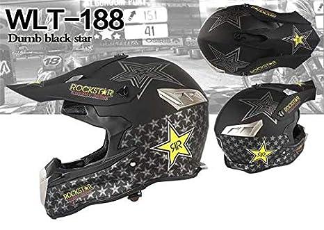 XXL Woljay Dual Sport Off Road Motorcycle Face Helmet for ATV Motocross Dirt Bike DOT Certified Rockstar Black