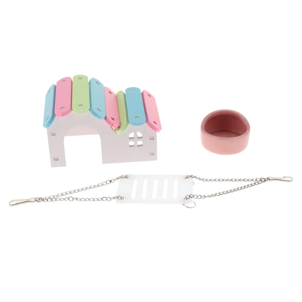 B Blesiya Hamsterkäfig Trinkflasche, mit Laufrad, Trinkflasche, Hamsterkäfig Badewanne und Haus 358bd4
