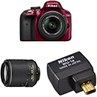 Nikon D3300 DX-Format DSLR Camera (Red) with 18-55mm + 55-200mm Lenses Wi-Fi Bundle