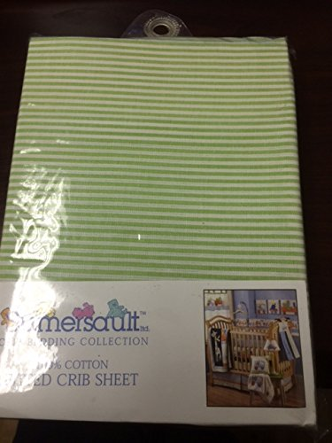2 for $9.99 Fitted Crib Sheet in LIGHT GREEN STRIPE TOY CHEST TC08 100% Cotton by Sumersault