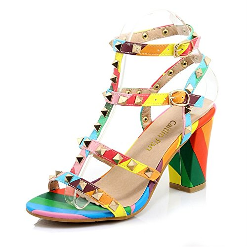 Slide Block Sandalo Chunky Eleganti Open topantofola Donna Pan Heels Costella Toe Heel per Sandali Middle Studs Caitlin Cw8x5Ovq