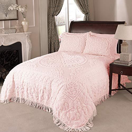 Beatrice Home Fashions Medallion Chenille Bedspread, Queen, Blush ()