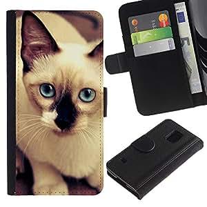 Siamese Thai Cat Balinese Blue Eyes - la tarjeta de Crédito Slots PU Funda de cuero Monedero caso cubierta de piel Samsung Galaxy S5 V SM-G900