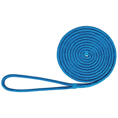 Amarine-made 1/2 Inch 25 FT Double Braid Nylon Dockline Dock Line Mooring Rope Double Braided Dock Line (Blue)