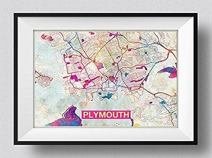 Amazon Com Plymouth England Uk Artistic Modern Map Photo