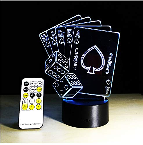 3D Illusion Poker Cards Sailboat Remote Control Led Desk Table Night Light 7 Color Touch Lamp Kids Family Holiday Gift