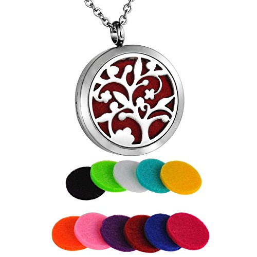 HooAMI Aromatherapy Essential Oil Diffuser Necklace - Stainless Steel Tree of Life Round Locket Pendant
