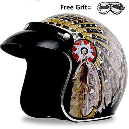 AA100 Harley Helmet Motorcycle Retro Half Helmet 4/3 Open face Collision Helmet DOT Certification Four Seasons Universal + Goggles,L