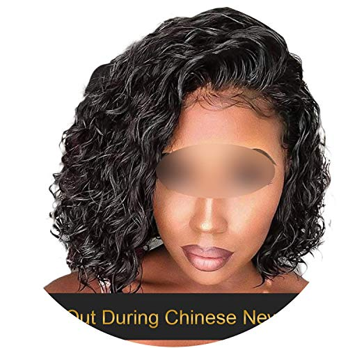 Curly Human Hair Wig Brazilian Short Bob Lace Front Human Hair Wigs For Black Women Full and Thick -