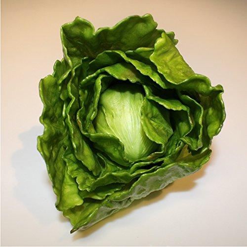 Künstlicher Eisberg-Salat grün, 15 cm, Ø 15 cm - Kunstgemüse / Dekogemüse