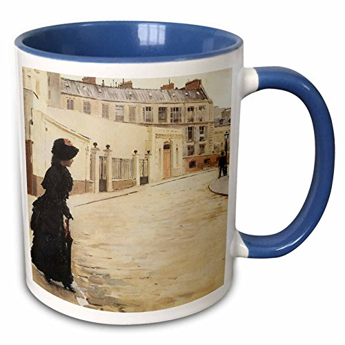 3dRose BLN Impressionist Fine Art Collection - Waiting, Paris Rue De Chateaubriand by Jean Beraud - 15oz Two-Tone Blue Mug (mug_127305_11) ()