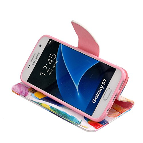Funda Samsung S7, Samsung Galaxy S7 Carcasa Funda Cuero [Pluma Libre] Samsung Galaxy S7 Case Book Estilo Libro billetera con correa de cordón Magnético Folio Flip Caso pata de cabra titular de la tarj Las plumas de colores
