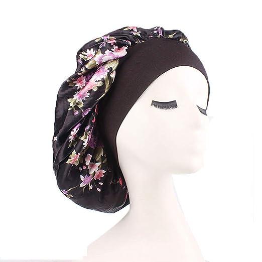 1d2d5493494 Womens Sleeping Cap Silk Satin Bonnets Hat Wide Band Night Caps Head Cover  for Hair (