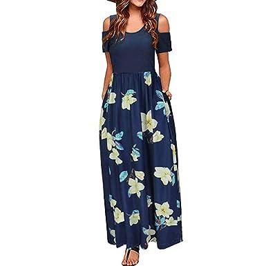 6e6318fc8b6c Verano de Las Mujeres Hombro FríO Floral Impreso Elegante Maxi ...