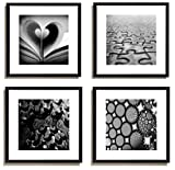 4Pcs x Black and White Famous Building Motivational Office Picture Photo Wood Black Frame Safe Lighter Plexiglass + White Mat Wall Modern Art Girl Gift Coffee Room Hall Deco 12x12