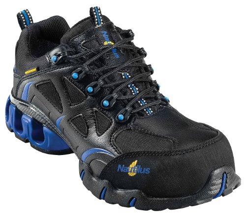 Nautilus 1801 Comp Toe Waterproof EH Athletic Shoe,Black/Blue,9.5 M US
