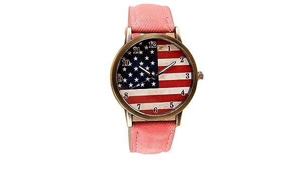 Relojes Yes Mile mujer hombre reloj Mode Bandera de Estados Unidos Imprimir Reloj de pulsera vintage Unsex analógico cuarzo Casual Relojes: Amazon.es: ...