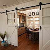 7FT Antique Black Sliding Barn Door Hardware Interior Double Door Big Wheel Shape Track Kit