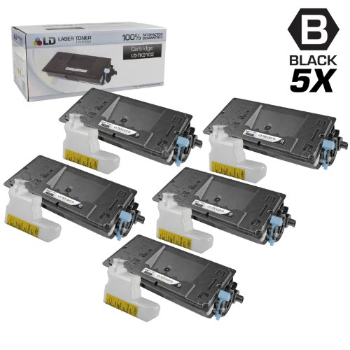 LD © Set of 5 Compatible Kyocera-Mita Black TK-3102 / 1T02MS0US0 Laser Toner Cartridges for use in FS-2100DN Printers