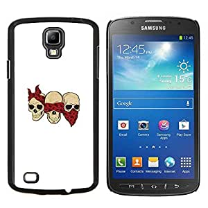 """Be-Star Único Patrón Plástico Duro Fundas Cover Cubre Hard Case Cover Para Samsung i9295 Galaxy S4 Active / i537 (NOT S4) ( Cráneo cuadrilla divertido Blanca Bufanda Roja"""" )"""