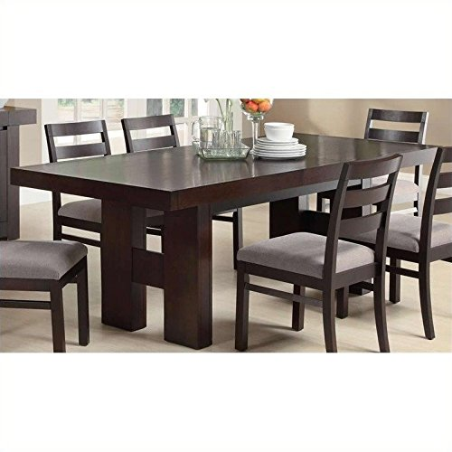 7pc Dining Table Set with Pull Out Extension Leaf in Cappuccino Finish = Table Only / Dabny Dining Table