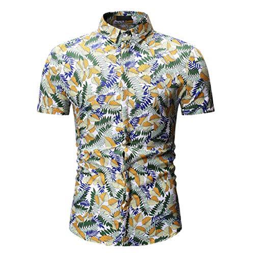 puxiaoa Hawaiian Shirts Mens Bamboo Printed Aloha Beach Party Holiday Camp Casual Short Sleeve Button Down Shirt Yellow XL
