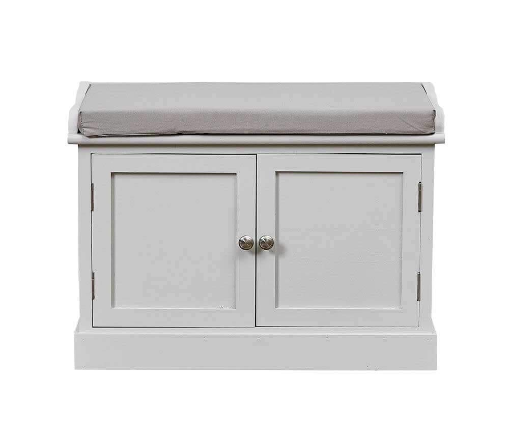 Two Door Low Storage Cupboard, Cabinet, Shoe and Toy Bench Seat Cushion Hallway Grey Sue Ryder