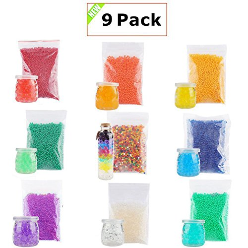 Water Beads Crystal Mud Soil - Magic Growing Jelly Gel Beads for Orbeez Spa Refill,Kids Sensory Toys,Home Party Decoration Crystal Mud Soil Including 9 Packs More Than 90000 Water Beads by PartySunny