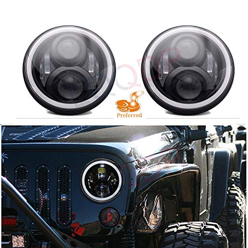 """LQQDP 2pcs DOT 7"""" Round H6024/H6017/6015/6014/6012 Conversion Kit LED Halo Angel Eye Projector Headlights Assembly Amber Turn Signal White High/Low Beam DRL Daytime Running Light+Canbus+H4/H13 Adaptor"""