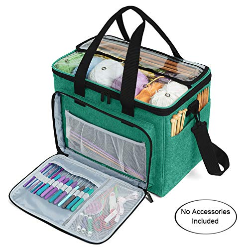 """Teamoy Knitting Bag, Yarn Tote Organizer with Inner Divider (Sewn to Bottom) for Crochet Hooks, Knitting Needles(Up to 14""""), Project and Supplies -No Accessories Included, Green"""