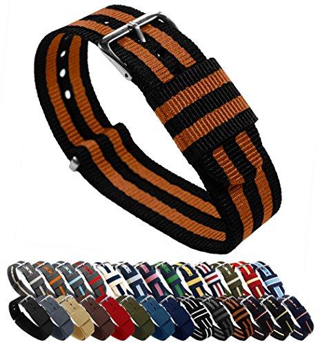 BARTON Watch Bands - Choice of Color, Length & Width (18mm, 20mm, 22mm or 24mm) - Black/Burnt Orange 20mm - Standard Length