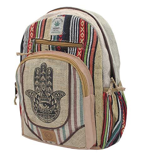 Handmade Hemp - KayJayStyles Handmade Natural Hemp Nepal Backpack Purse for Women & Girls Small Lightweight Daypack (Fatima Hand)
