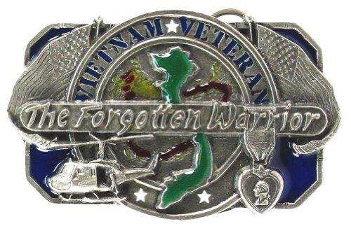 Warrior Belt Buckle - Pewter Belt Buckle - Forgotten Warrior Vietnam Veteran