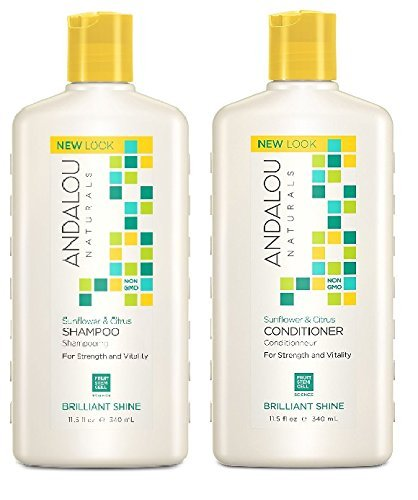 Andalou Naturals Sunflower & Citrus Brilliant Shine Shampoo and Conditioner Bundle, 100% Sulfate Free and Color Safe, 11.5 fl oz each